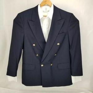 Org Burberry N Blue Vintage Blazer 42R Made in USA